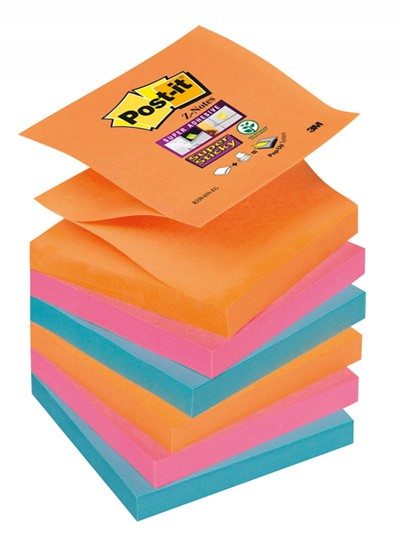 3M POST IT Z-NOTES ELECTRIC GLOW 76X 76MM